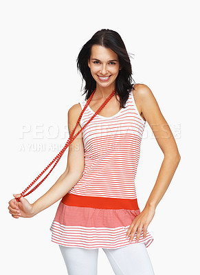 Buy stock photo Woman smiling and posing while holding beads