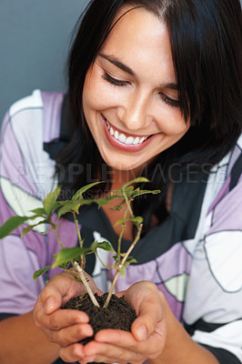 Buy stock photo Happy woman smiling at plant she is holding