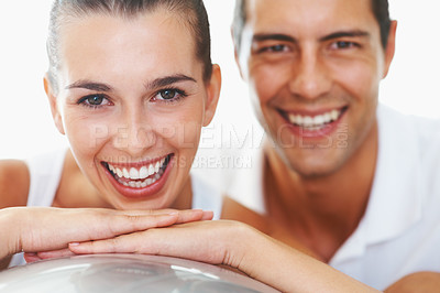 Buy stock photo Closeup portrait of cheerful young woman with personal trainer