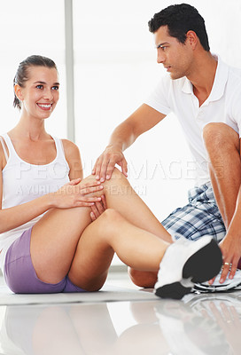 Buy stock photo Portrait of young woman doing yoga with fitness trainer