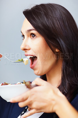 Buy stock photo Excited young woman having healthy breakfast