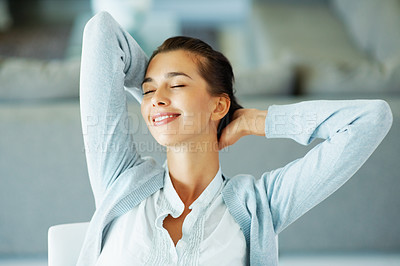 Buy stock photo Closeup of pretty woman relaxing with eyes closed
