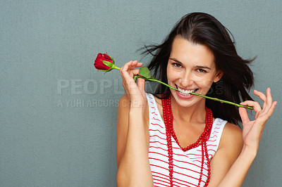 Buy stock photo Portrait of smiling young woman with rose in her teeth