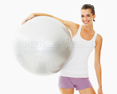 Buy stock photo Happy active woman holding fitness ball on white background