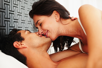 Buy stock photo Portrait of happy couple sharing passionate moment