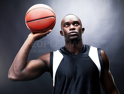 Buy stock photo Portrait of a african young male basketball player in free throw pose against grunge background