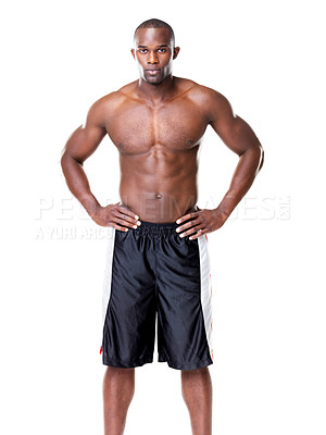 Buy stock photo Portrait of a healthy young guy posing confidently against white background
