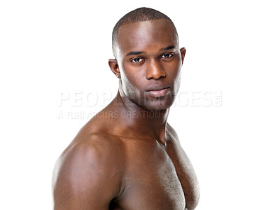 Buy stock photo Portrait of a handsome young afroamerican man looking confidently at you against white background