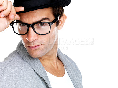 Buy stock photo Portrait of an intelligent man in hip glasses and modern oufit looking intently at you, posing on white background