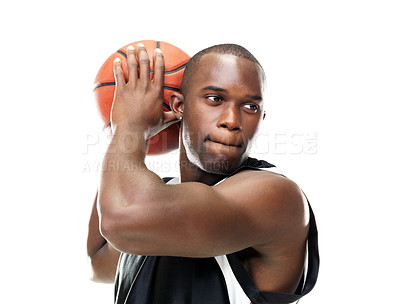 Buy stock photo Portrait of a young male baske tball player playing basketball against white background
