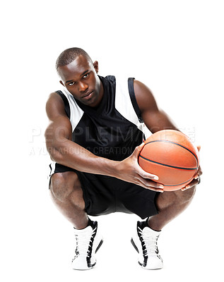 Buy stock photo Portrait of an attractive african american man posing with basketball against white background