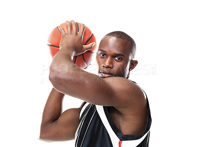 Buy stock photo Portrait of a handsome black male holding basketball against white background