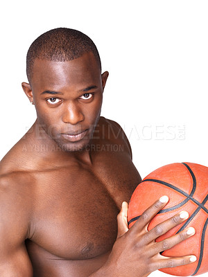 Buy stock photo Portrait of a handsome black male standing with basketball against white background