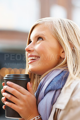 Buy stock photo Side view of attractive young woman enjoying coffee