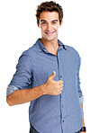 Young man showing thumbs up sign against white background