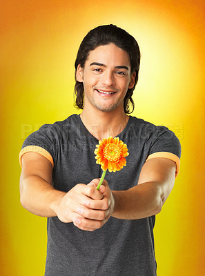 Buy stock photo Happy man holding out daisy with two arms