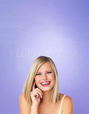 Buy stock photo Portrait of attractive woman smiling and looking at you