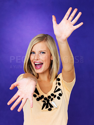 Buy stock photo Portrait of pretty woman with hands extended out