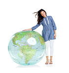 International woman with the world at her feet