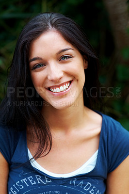 Buy stock photo Closeup portrait of a beautiful female model smiling
