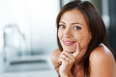 Buy stock photo Closeup portrait of a sexy young woman looking at you with a smile - Copyspace
