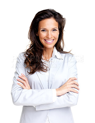 Buy stock photo Portrait of a happy young business woman standing with folded hand against white background