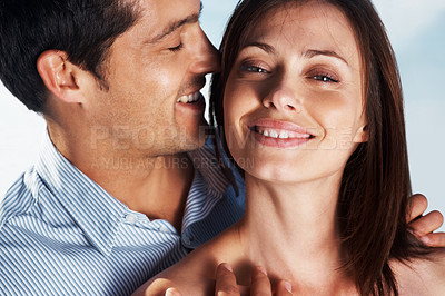 Buy stock photo Closeup portrait of a sweet young love couple smiling together