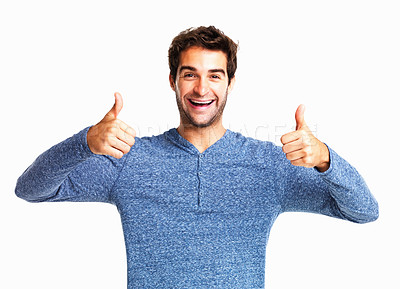 Buy stock photo Cheerful man giving you two thumbs up on white background