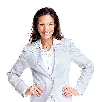 Buy stock photo Portrait of a beautiful young business woman standing with hand on waist against white background