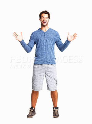 Buy stock photo Cheerful young man with hands wide open against white background
