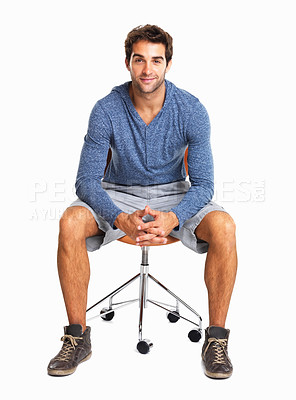 Buy stock photo Confident man sitting on chair against white background