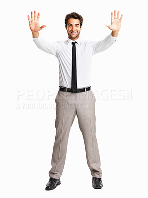 Buy stock photo Junior executive with a stop gesture on white background