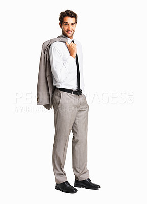Buy stock photo Full length of a happy business man with coat over shoulder on white background