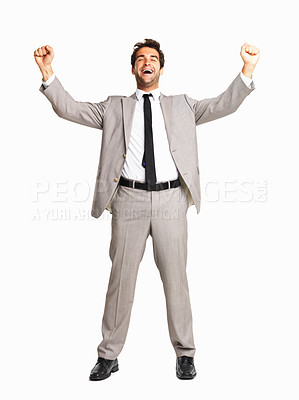 Buy stock photo Full length of successful business man with fists clenched on white background