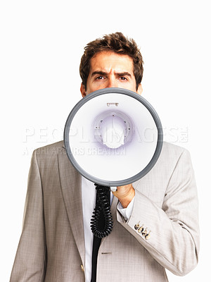 Buy stock photo Business man using megaphone on white background
