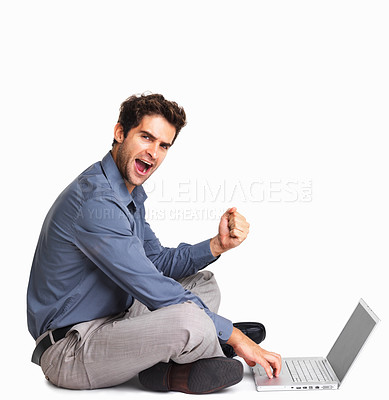 Buy stock photo Business man gesturing success while using laptop on white background