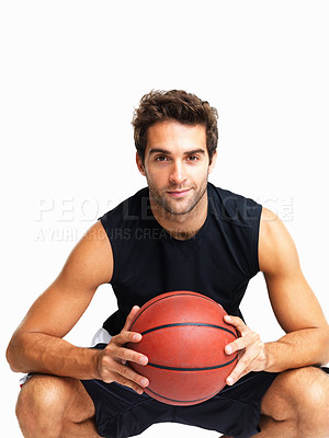 Buy stock photo Man with basketball crouched down