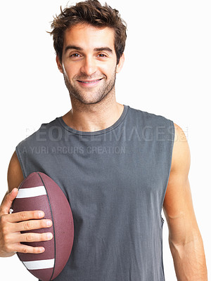 Buy stock photo Happy athletic man holding a football while isolated on a white background