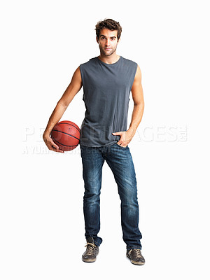 Buy stock photo Man casually standing with basketball