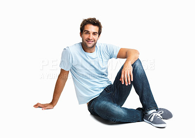 Buy stock photo Casually dressed man relaxing on the floor
