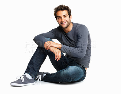 Buy stock photo Portrait of casual man sitting on the floor