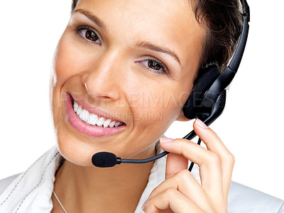 Buy stock photo Closeup portrait of a beautiful young woman working at a helpdesk wearing headset