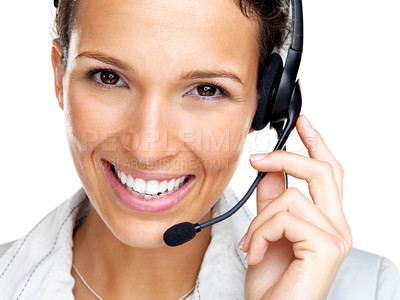 Buy stock photo Closeup portrait of beautiful young customer service agent with a headset on - isolated on white