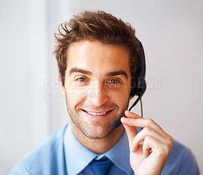 Buy stock photo Closeup portrait of happy young customer service agent conversing over headset