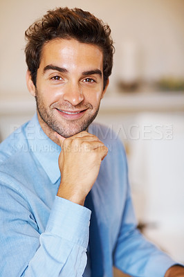 Buy stock photo Closeup of successful young executive posing on colored background