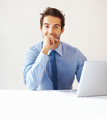 Buy stock photo Portrait of happy business man with laptop