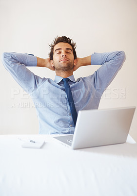Buy stock photo Portrait of relaxed business man in front of laptop