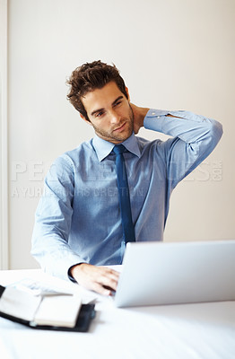 Buy stock photo Young business man suffering from neck pain