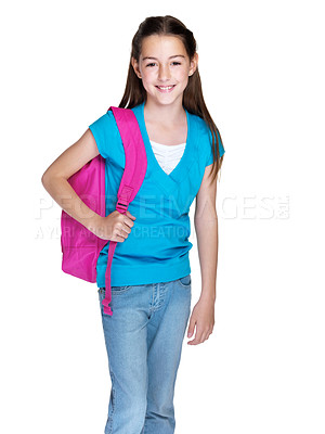 Buy stock photo Portrait of a happy little girl standing with schoolbag against white background