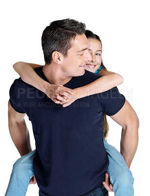 Buy stock photo Portrait of a small girl enjoying piggyback ride with her father against white background